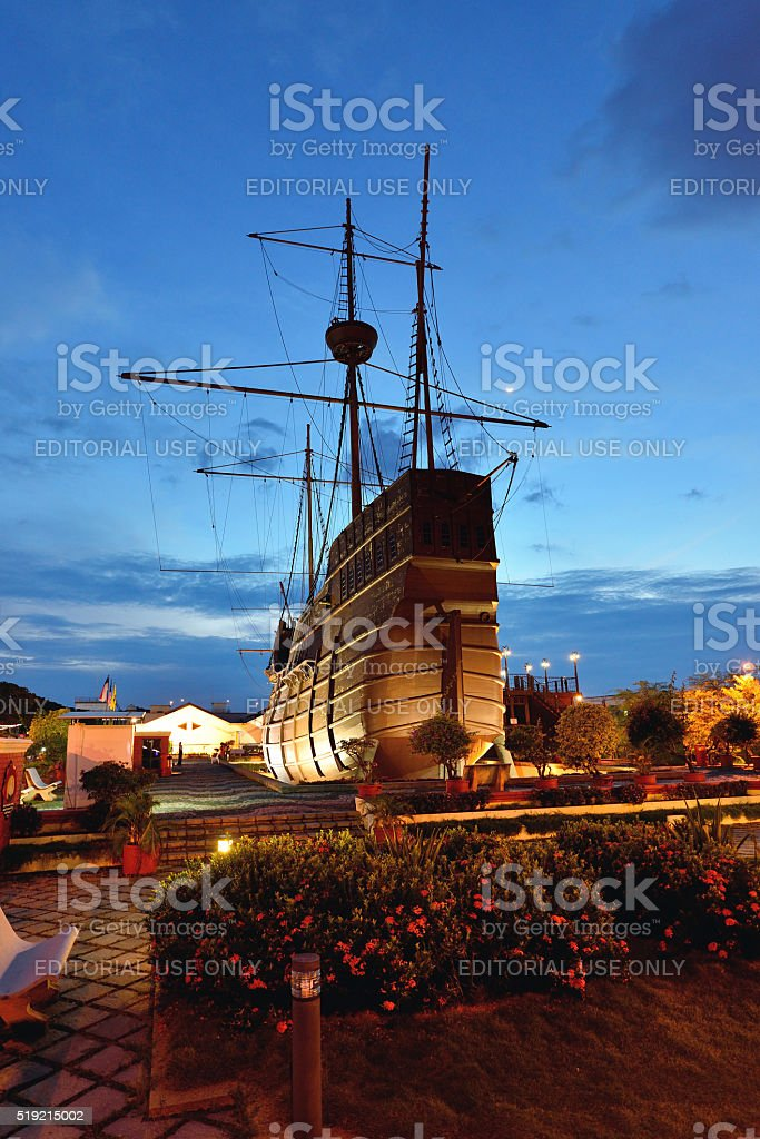Portugese vintage ship, Malacca, Malaysia stock photo