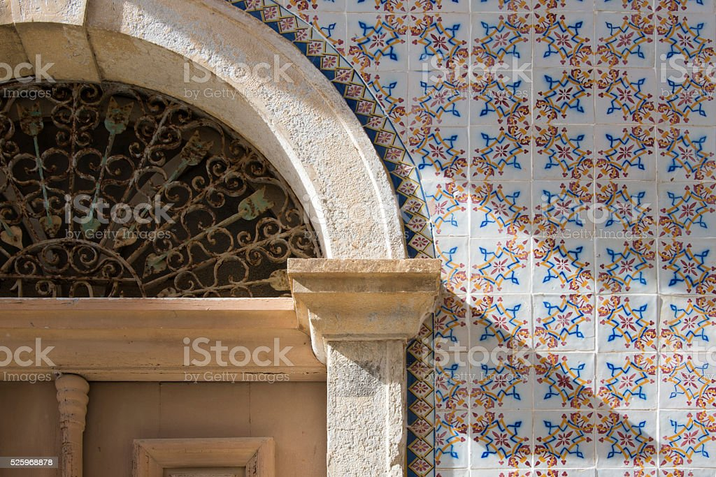 Portugese wall tiles stock photo