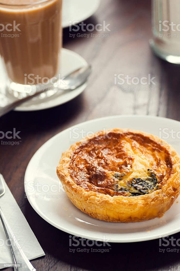 Portuguese Breakfast Espinafre or Spinach and Cheese Quiche stock photo