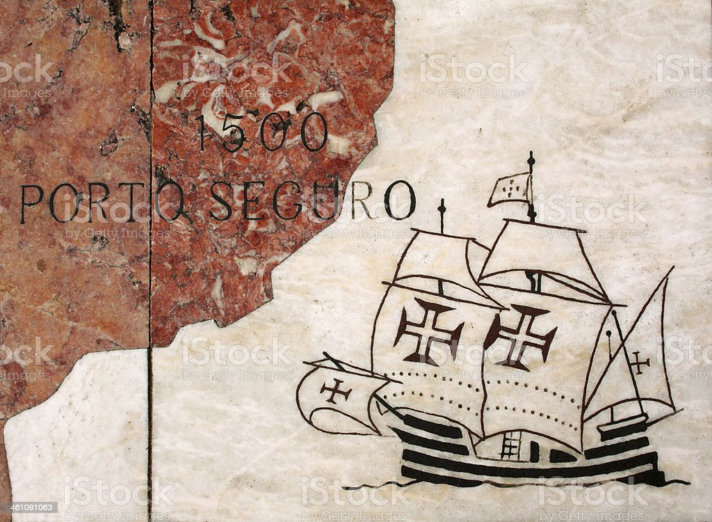 Portuguese Caravel, inscribed in marble paving. Lisbon. stock photo