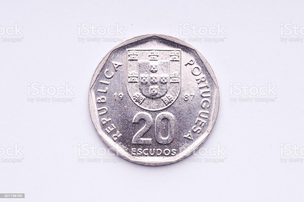Portuguese coin stock photo