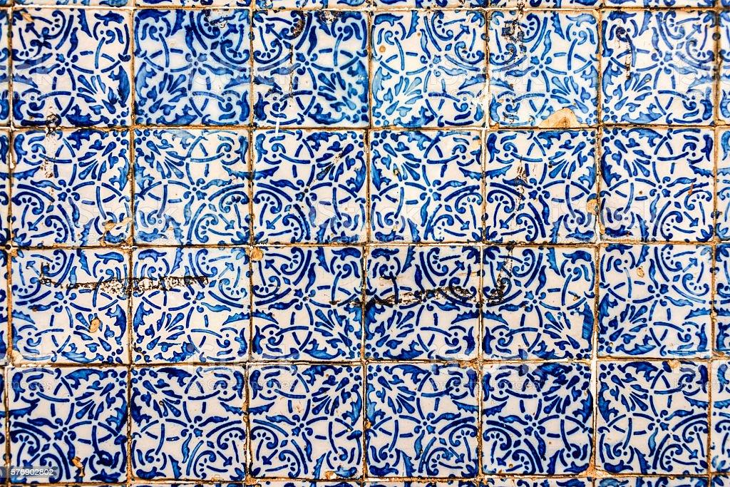 Portuguese colonial tiles (azulejos) in Sao Luis, Brazil stock photo