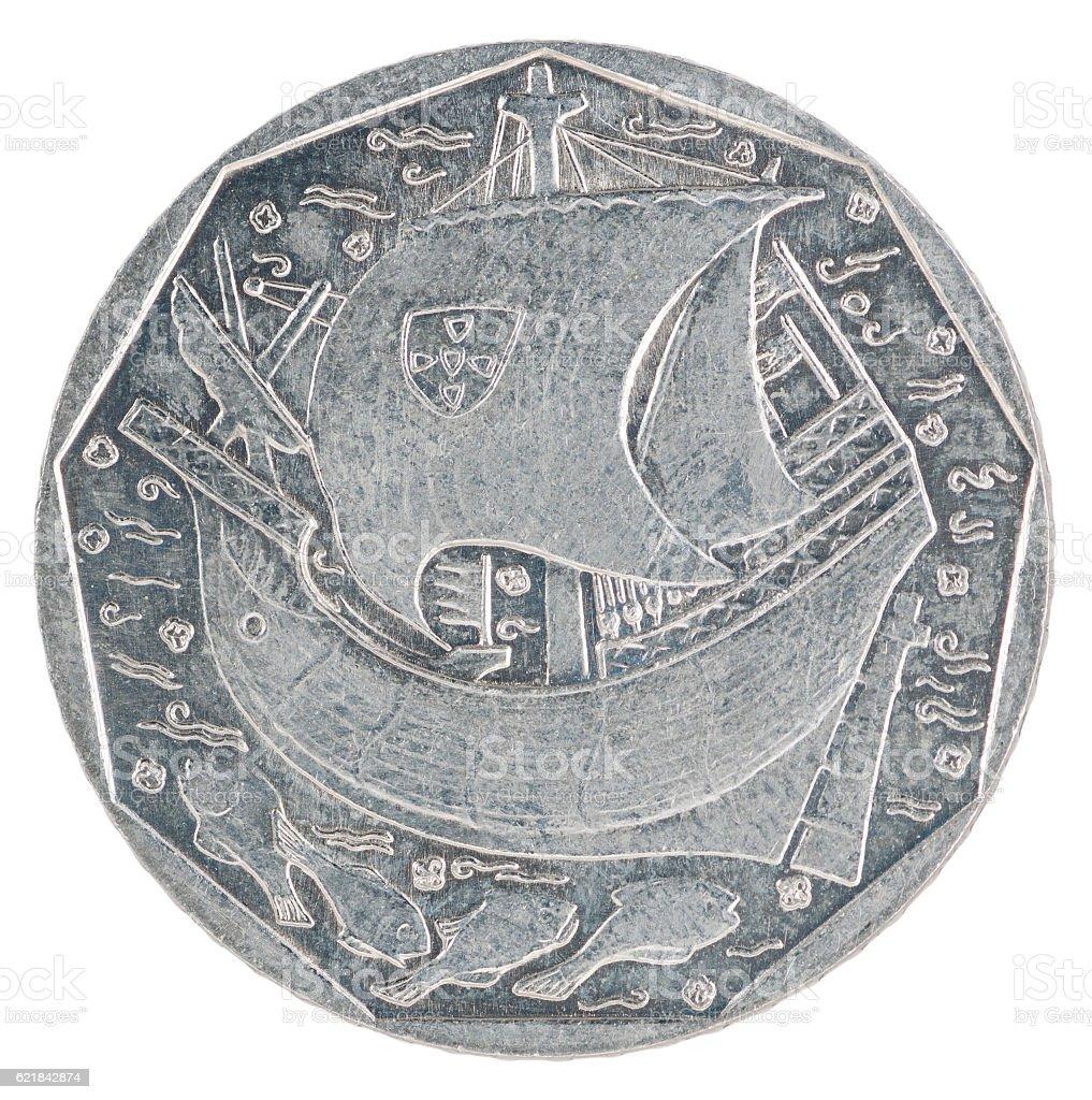 Portuguese escudo coin stock photo