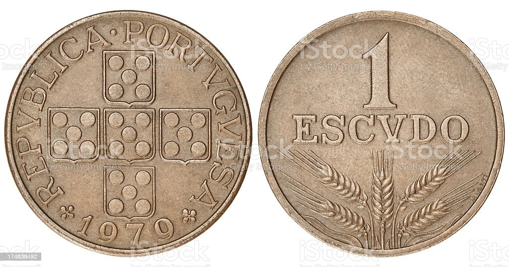 Portuguese Escudo on white background stock photo