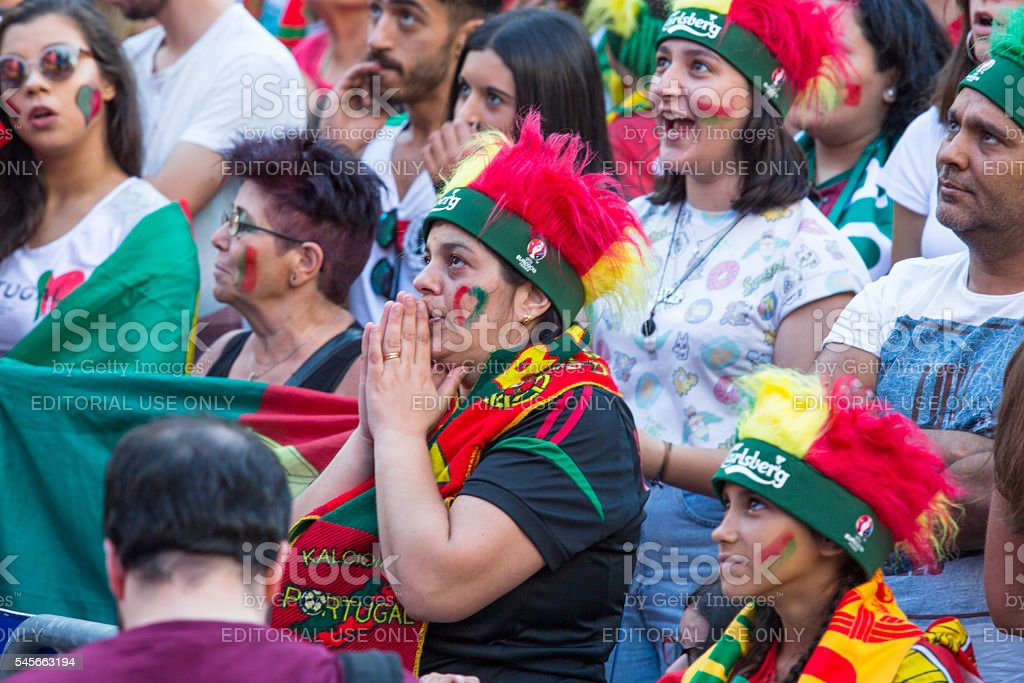 Portuguese fans during video translation of the football match Portugal stock photo