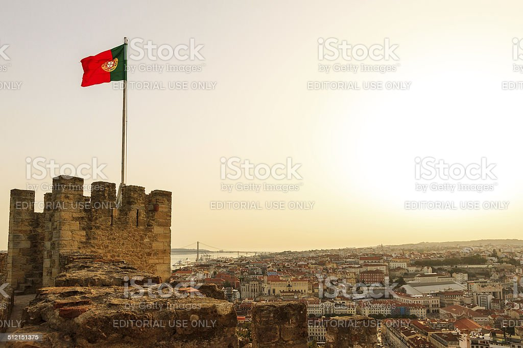 Portuguese flag castle stock photo