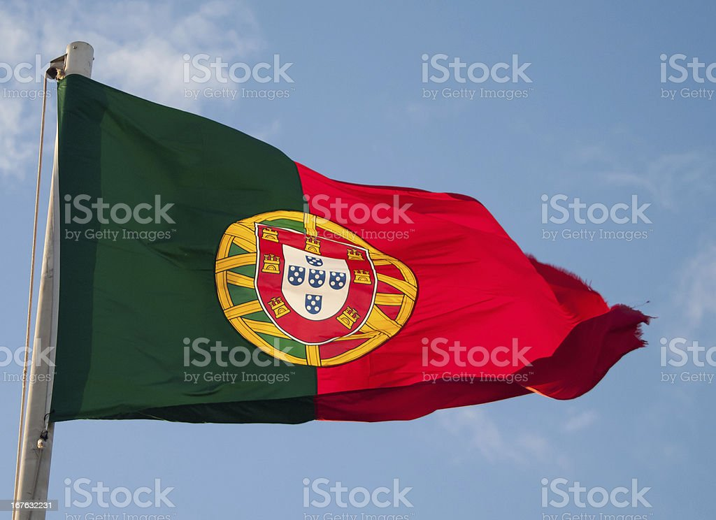 Portuguese flag on Castelo de Sao Jorge stock photo