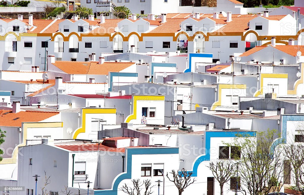 portuguese houses at south region alentejo stock photo