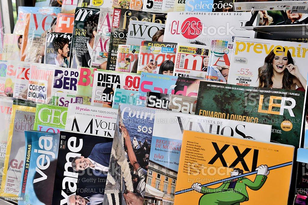 Portuguese Magazines stock photo