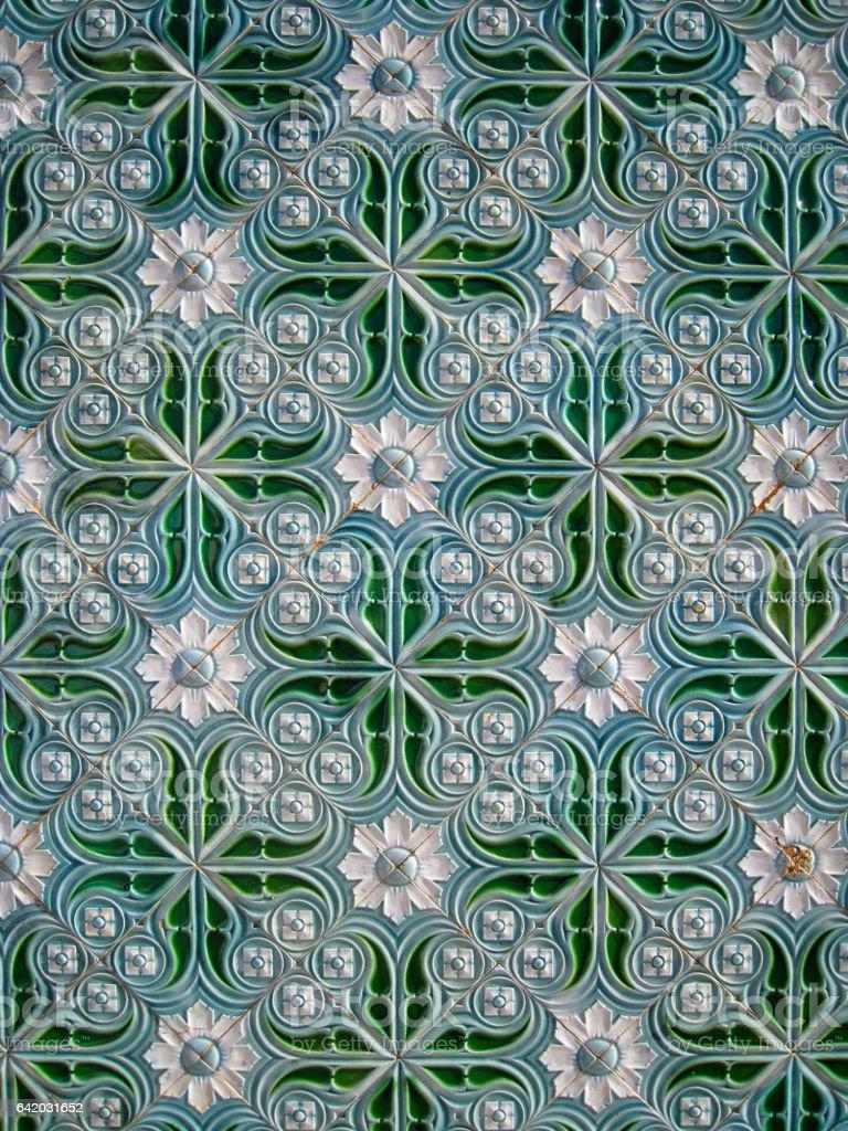 Portuguese Relief Green Tiles stock photo
