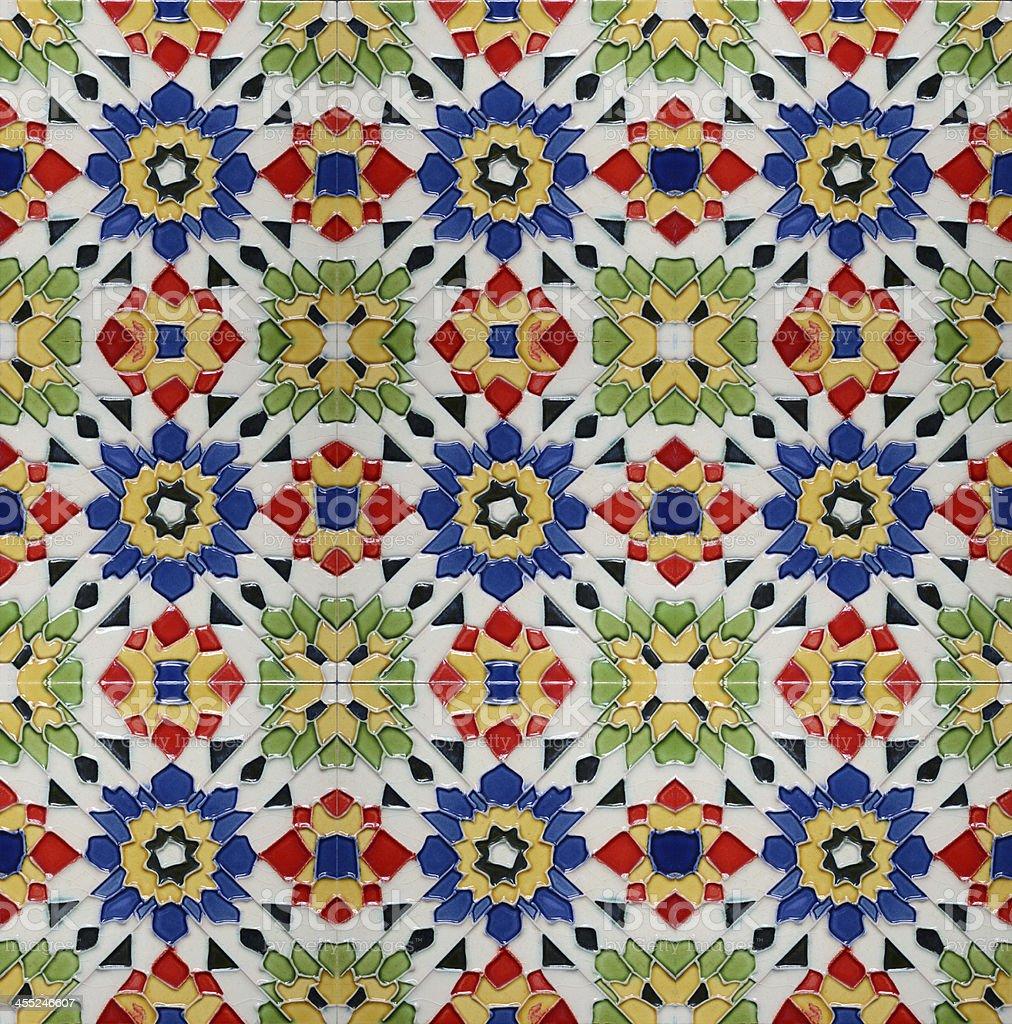 Portuguese Spanich Moroccan style vintage ceramic tile stock photo