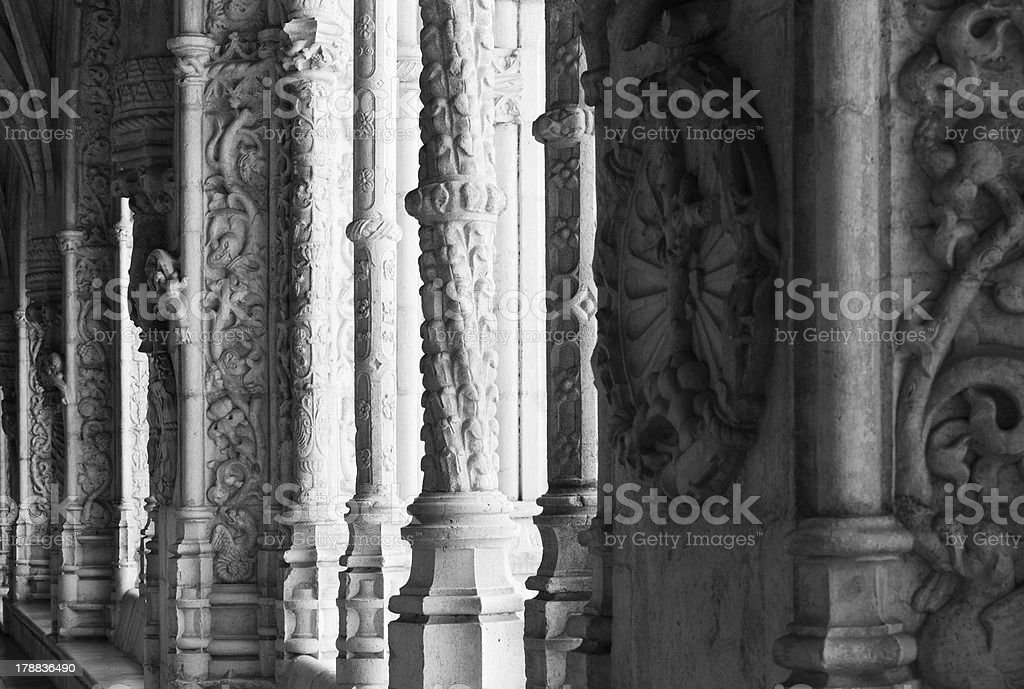 Portuguese style colonnade in Manueline royalty-free stock photo