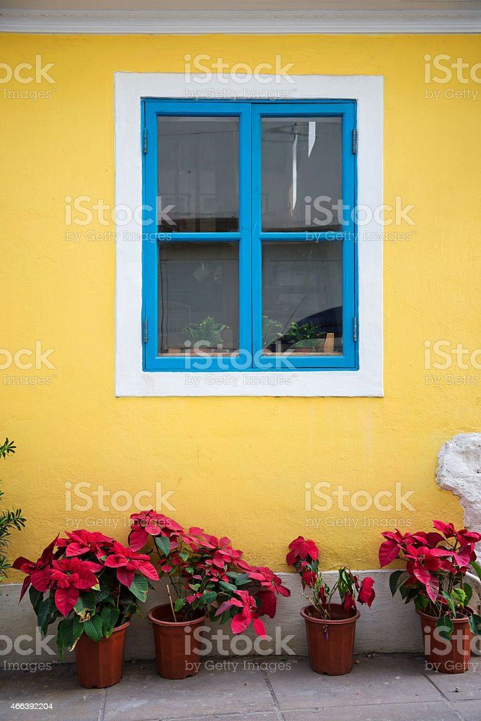 portuguese style colorful window in taipa macau stock photo