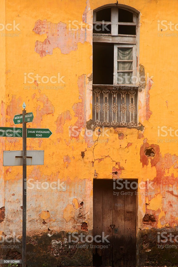 Portuguese style windows on old buildings stock photo