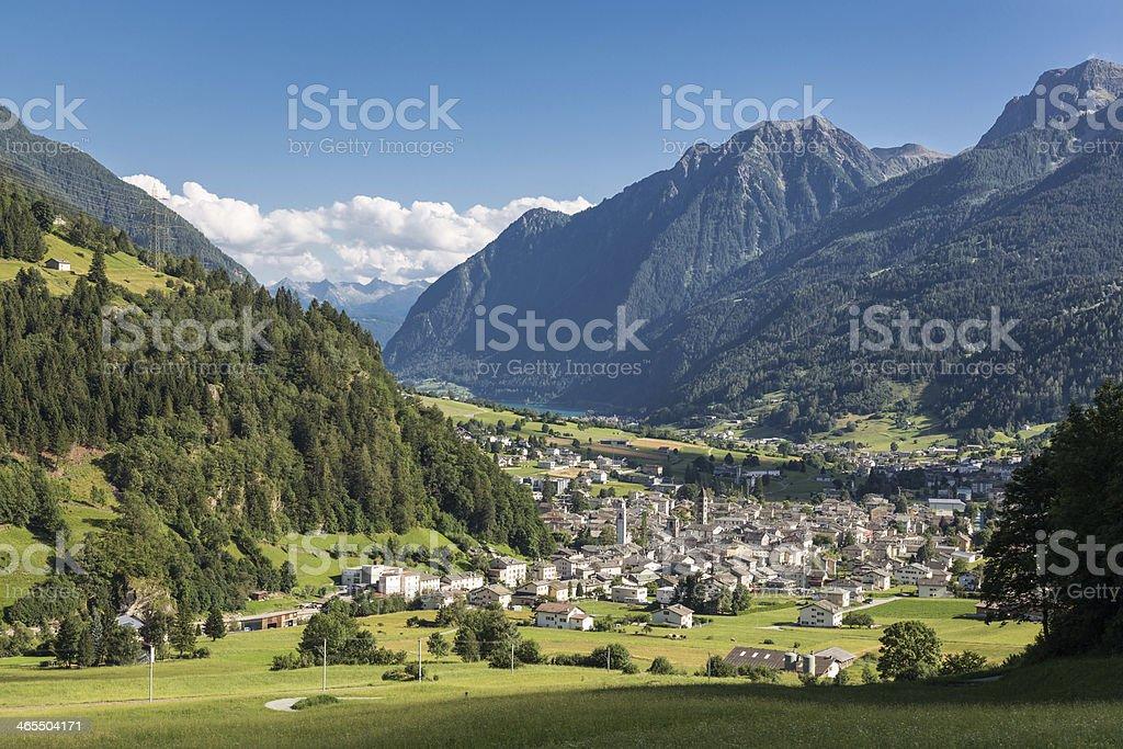Poschiavo late afternoon, Switzerland stock photo