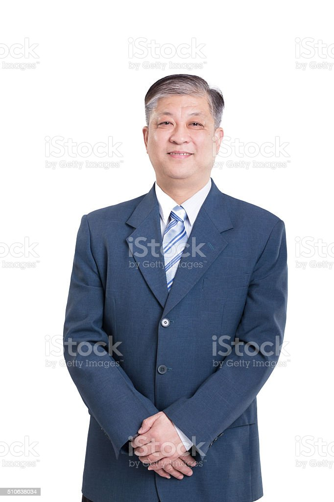 pose and gesture of old Asian businessman stock photo