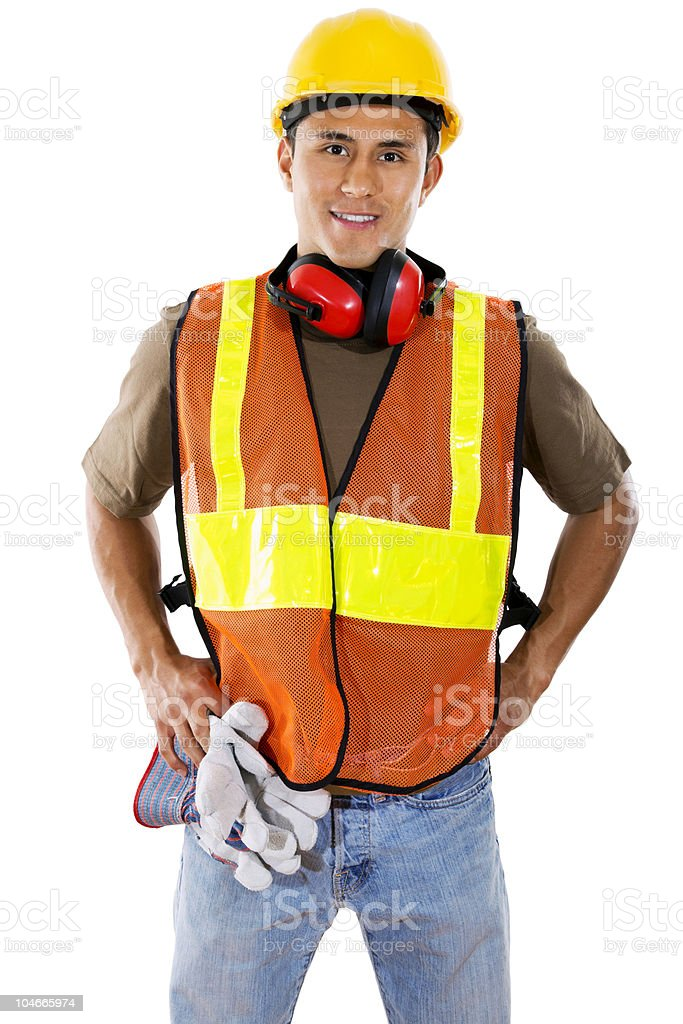 Posed photo of a male construction worker stock photo