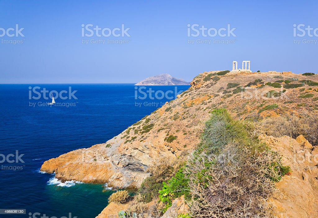 Poseidon Temple at Cape Sounion near Athens, Greece stock photo