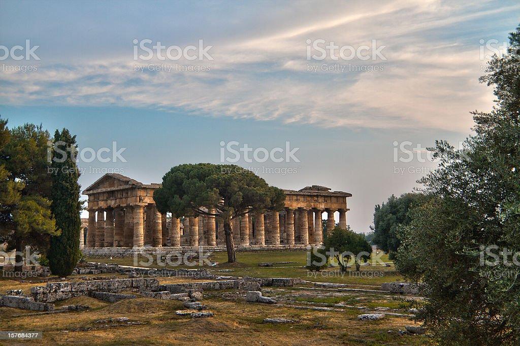 Poseidon temple (Paestum, Italy) HDR royalty-free stock photo