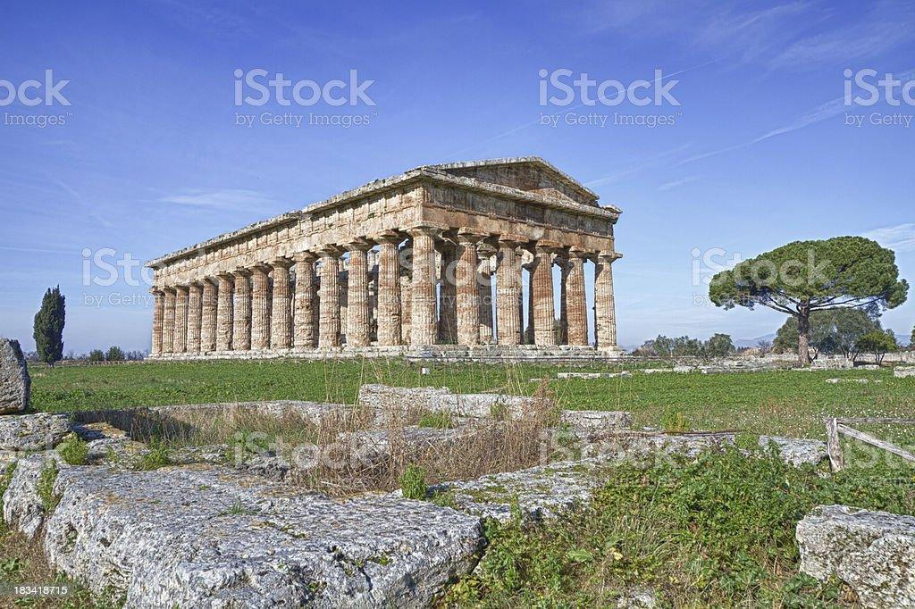 Poseidon temple (Paestum, Italy) stock photo