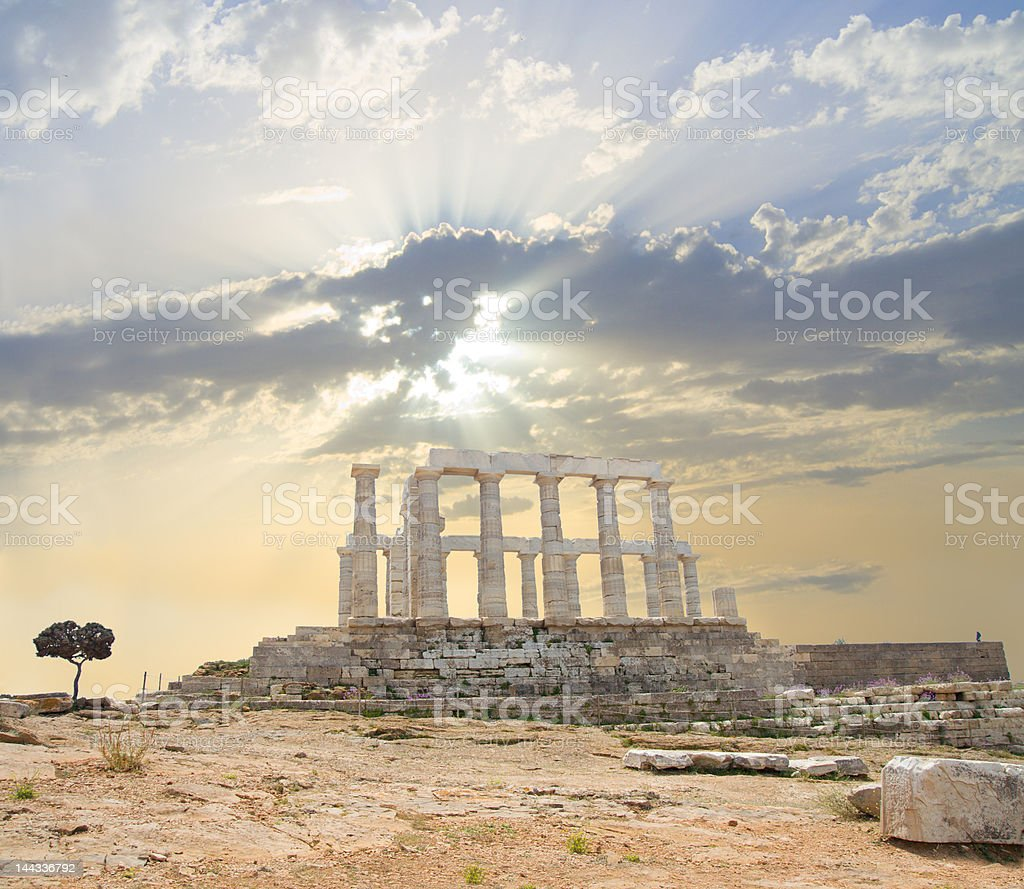 Poseidon Temple - side stock photo