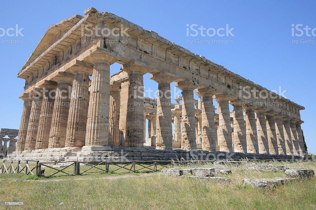 Poseidon?s Temple of Paestum, the ancient Posidonia (Naples) stock photo