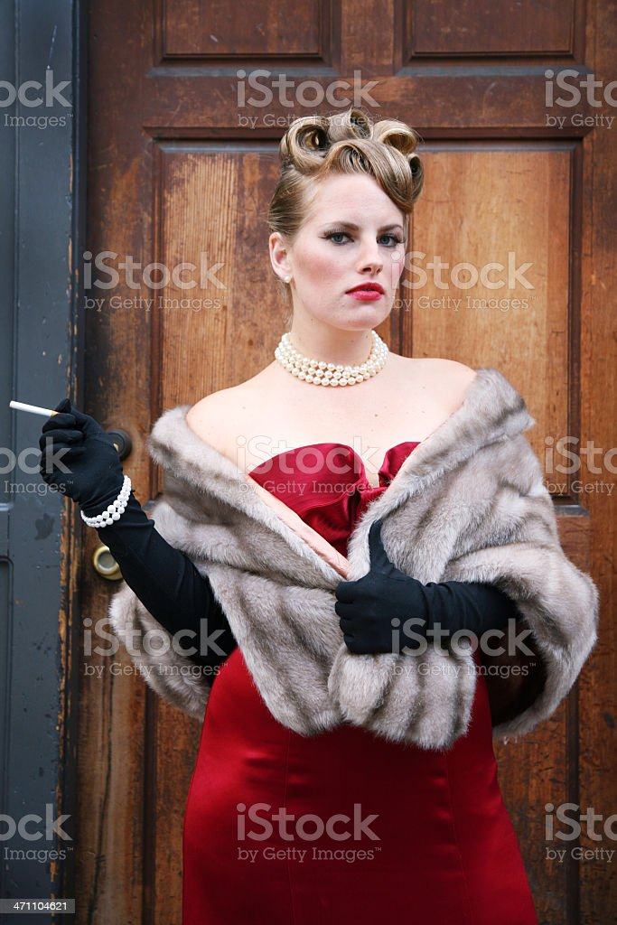 Posh lady with cigarette royalty-free stock photo