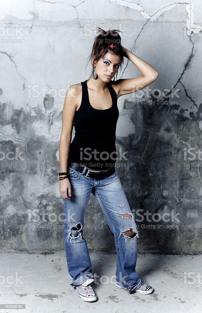 Posing at camera royalty-free stock photo