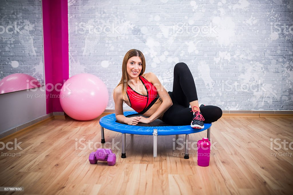Posing at the gym stock photo