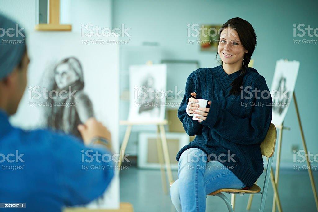 Posing for artist stock photo