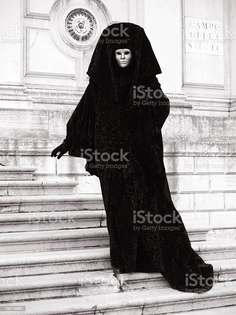Posing in front of Church. Venetian Carnival. royalty-free stock photo