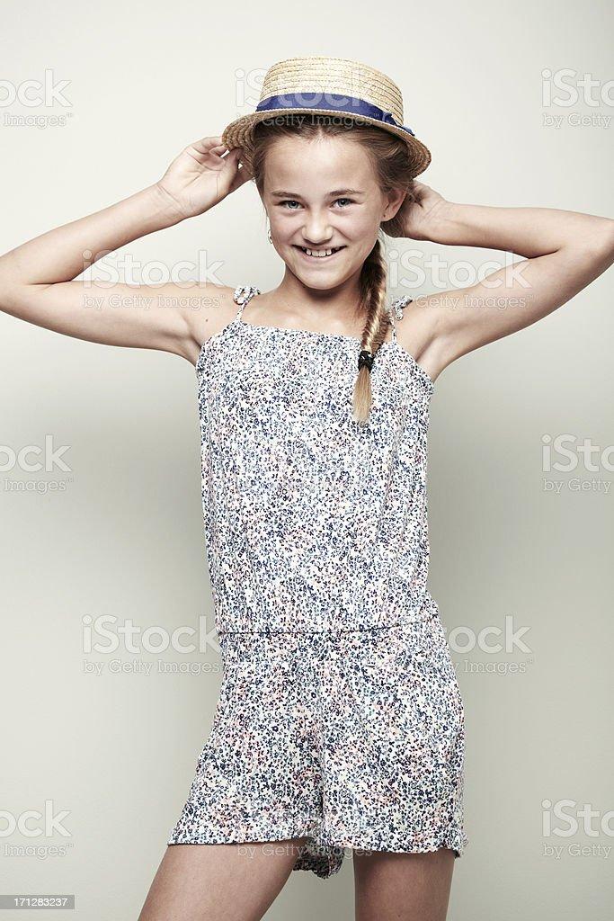 Posing summer girl stock photo