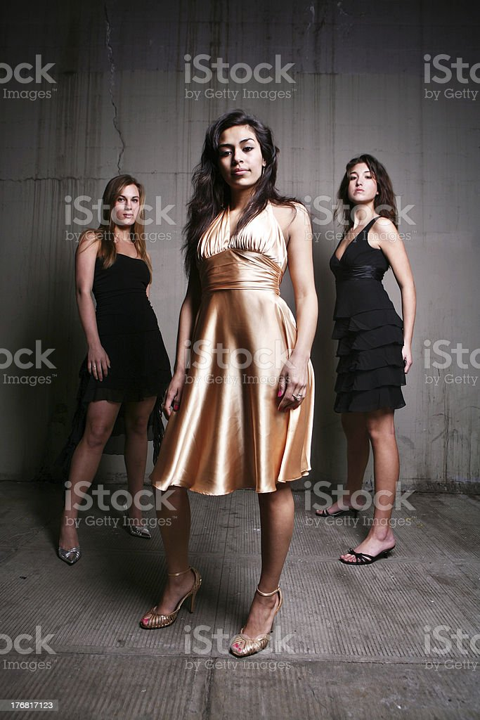 Posing Vertical Portrait Girls royalty-free stock photo