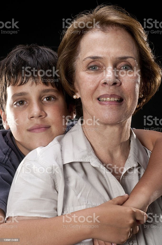 Posing with his grandma royalty-free stock photo