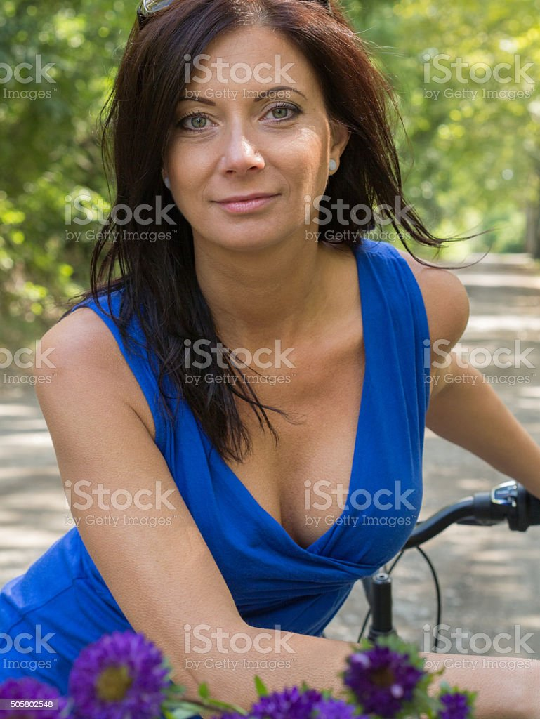 posing with nice decolletage stock photo