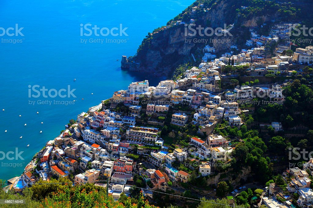 Positano aerial panorama, ships and turquoise Italian Amalfi Coast stock photo