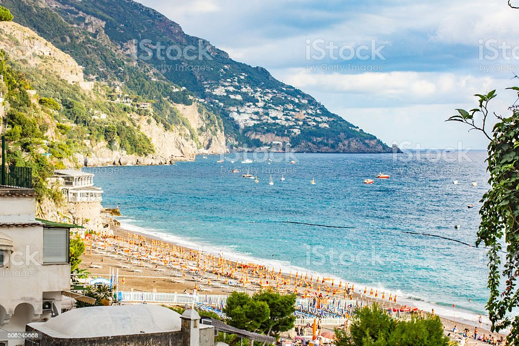 Positano beach, Amalfi coast, Italy stock photo