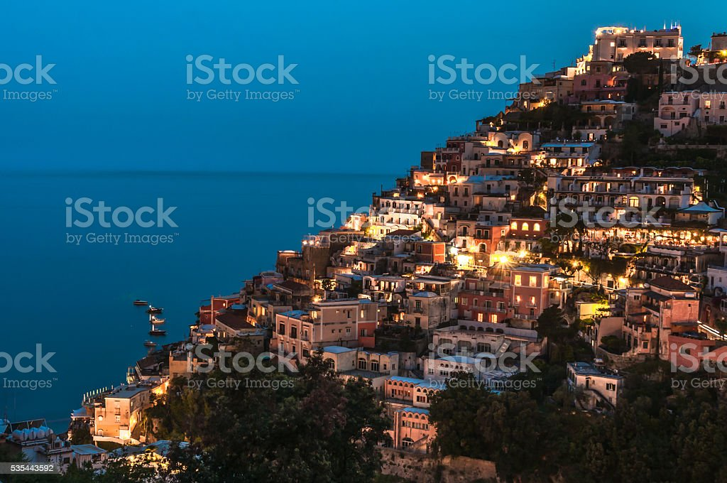 Positano by Night stock photo