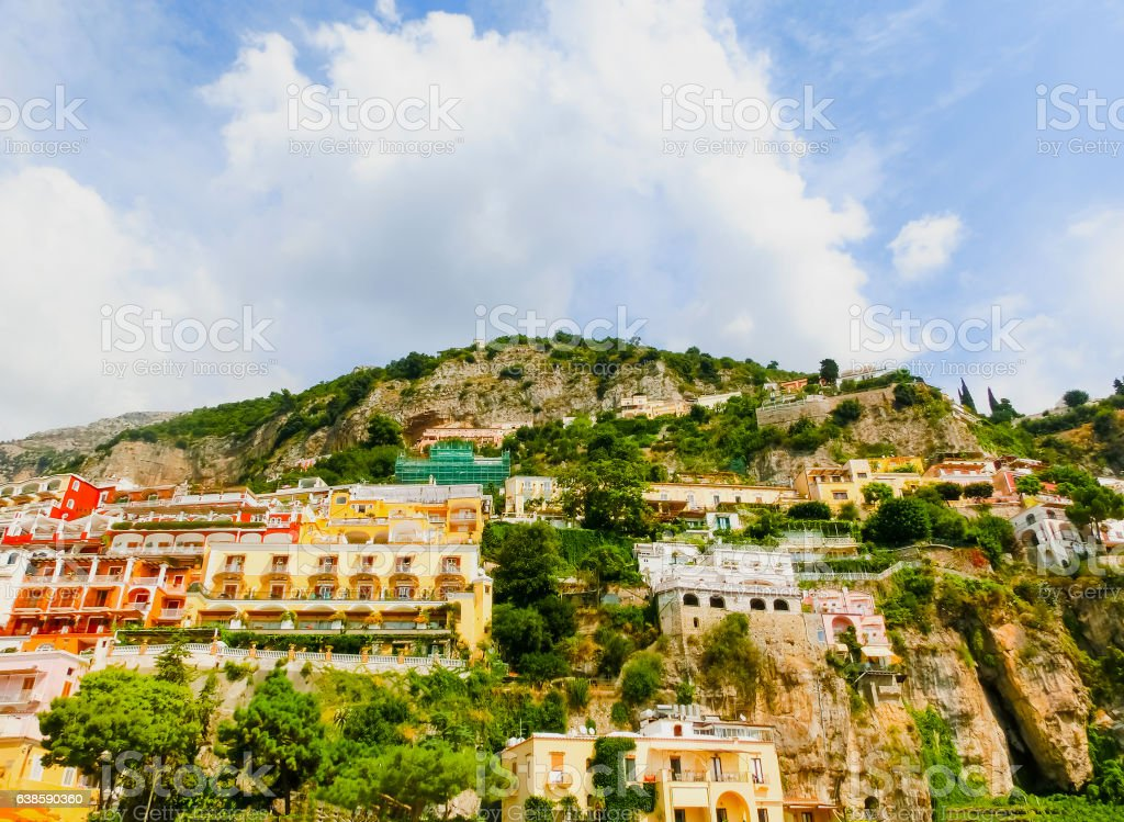 Positano, Italy along the stunning Amalfi Coast. stock photo