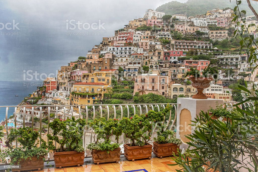 Positano on Amalfi Coast of Italy stock photo