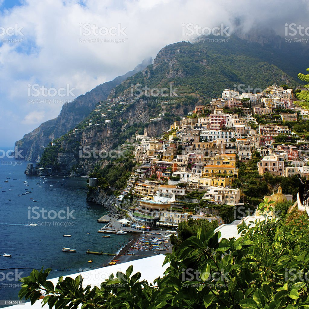 Positano on the Amalfi Coast in Italy stock photo