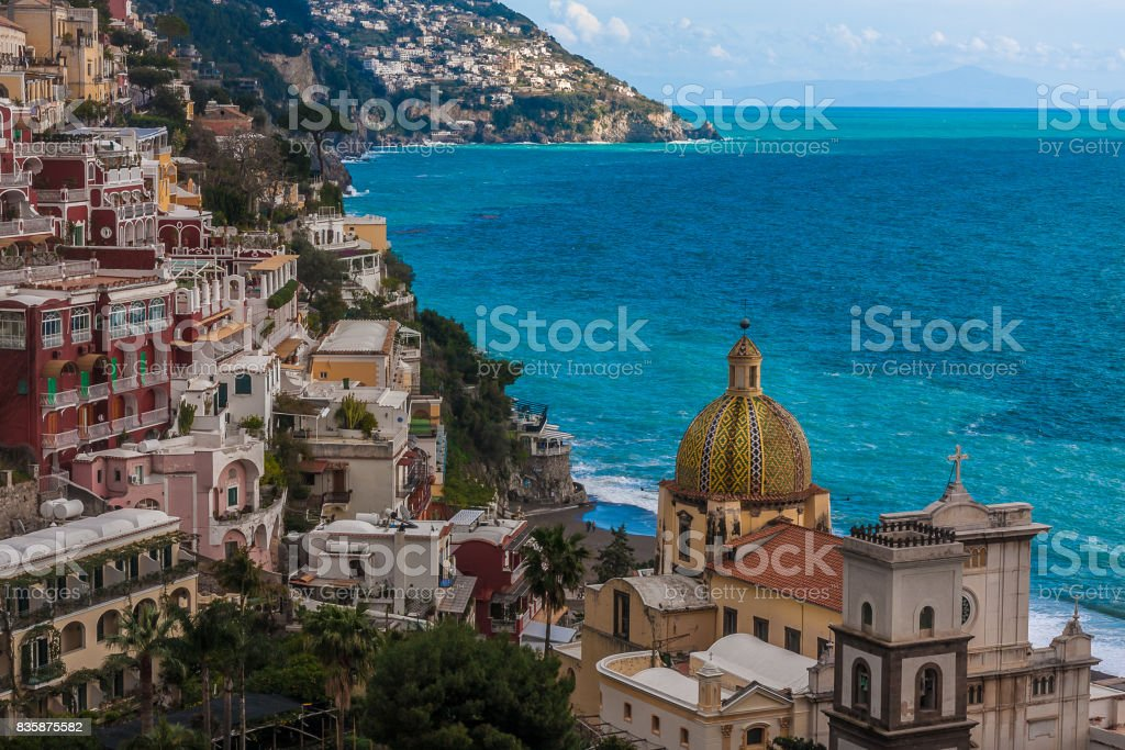 Positano panoramic view with the sea and the Basilica stock photo