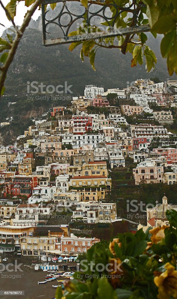Positano Through Mandevilla Vines stock photo