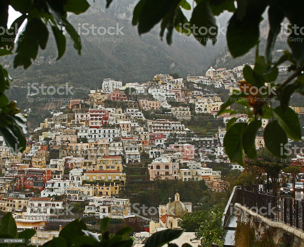 Positano Through the Vines stock photo