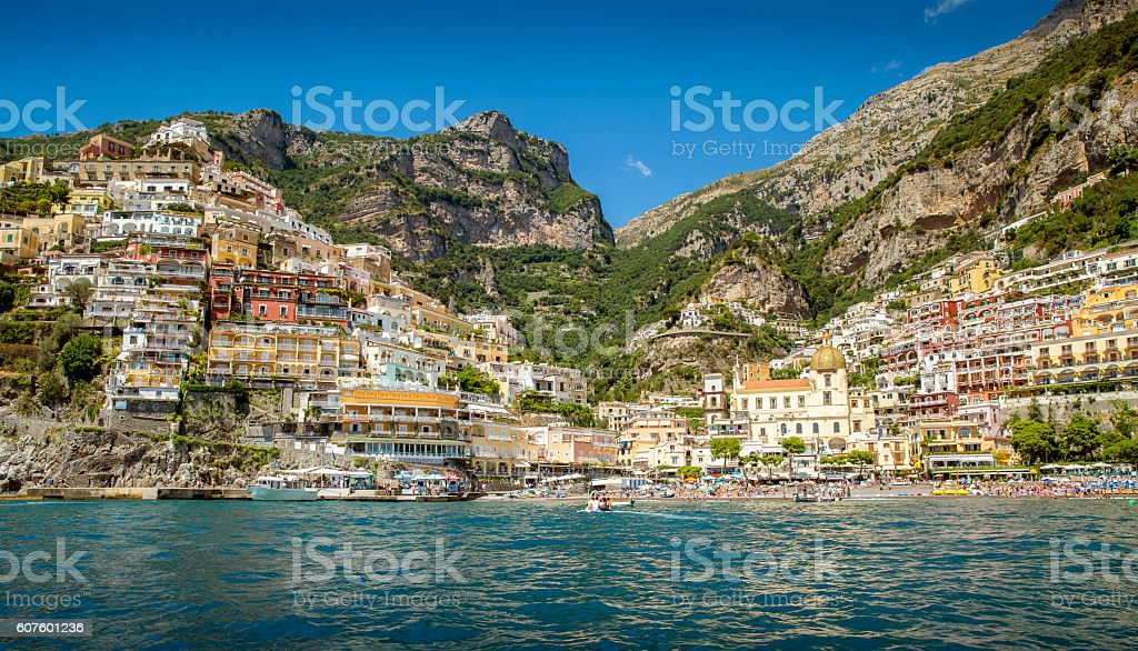Positano Village on Amalfi Coast in Italy stock photo