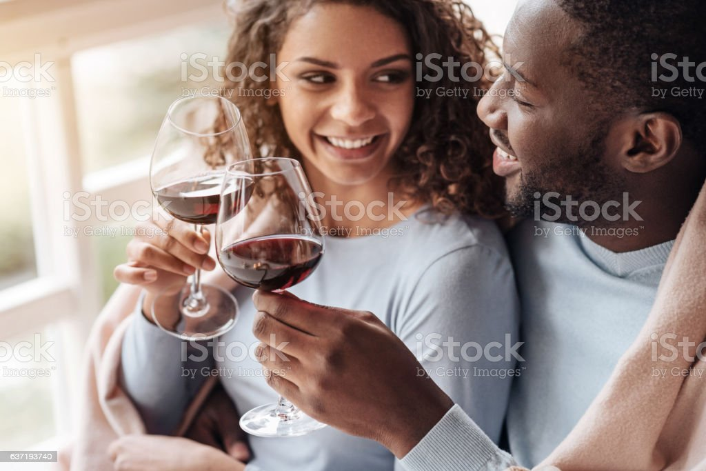 Positive African American couple holding wineglasses in the restaurant stock photo