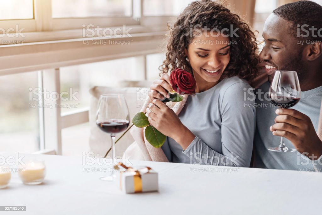 Positive African American couple hugging in the restaurant stock photo