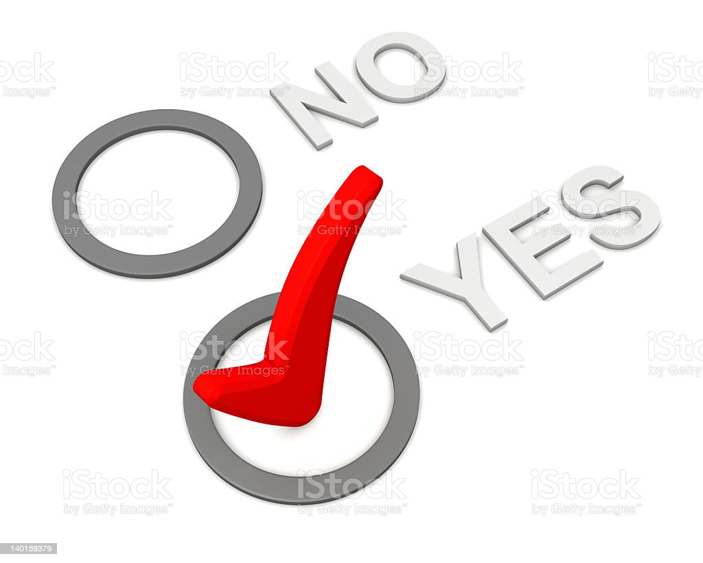 """Positive and negatice answers with """"yes"""" marked. royalty-free stock photo"""