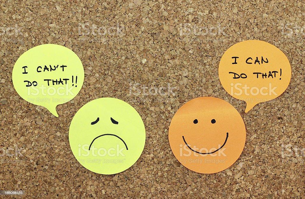 Positive and negative attitude concept stock photo