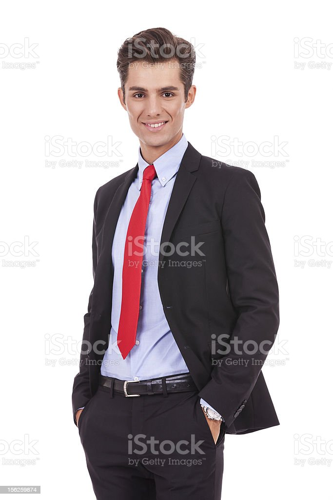 positive and relaxed business man royalty-free stock photo
